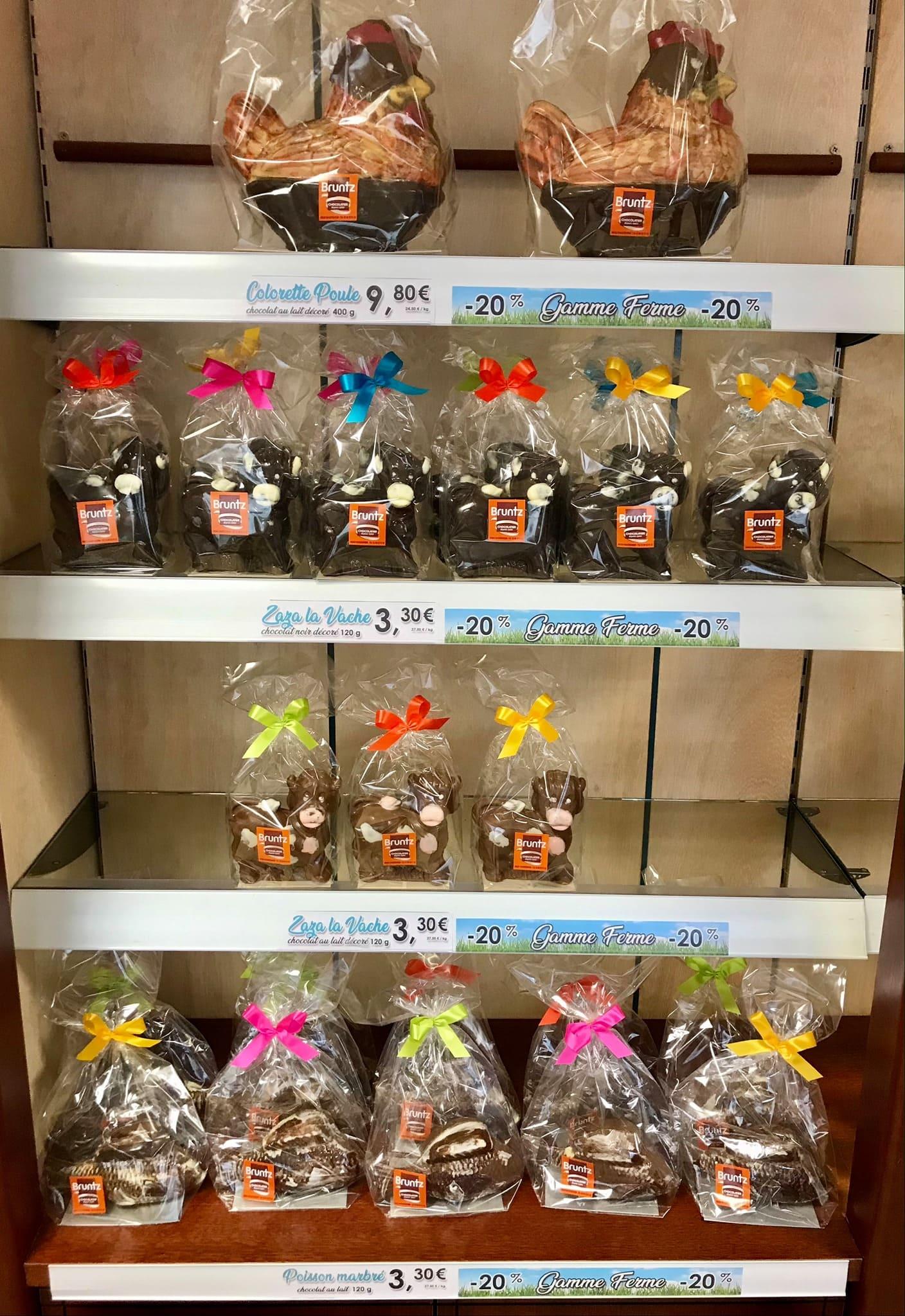 """PROMOTION ! Venez profiter de -20% sur nos moulages de la """"Gamme Ferme"""". Nos petits animaux vous attendent en boutique 😊 #chocolat #alsace #chocbruntz (Alsace)"""