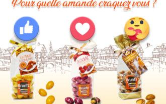 Spécial vote chez le Fabricant de chocolat Bruntz - 68 Kingersheim près du Kaligone Alsace, Soutenez votre amande préférée en votant : alors plutôt fruit de la passion, framboise ou caramel fleur de sel