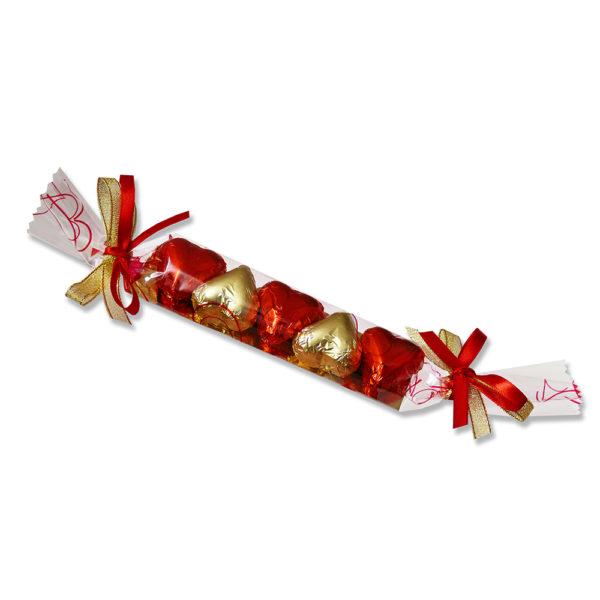 Réglette 5 coeurs chocolat praliné Noir et Lait 60g
